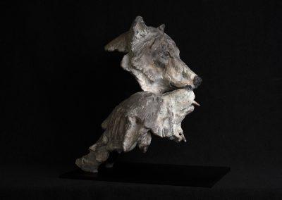couple de loups, profil droit - bronze original