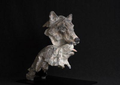 couple de loups, 3/4 profil droit - bronze original