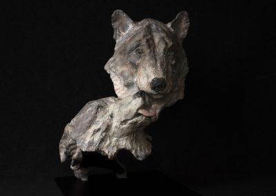 couple de loups, face - bronze original