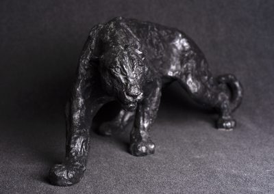panthère face plongée - bronze original
