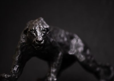 panthère face contre plongée - bronze original