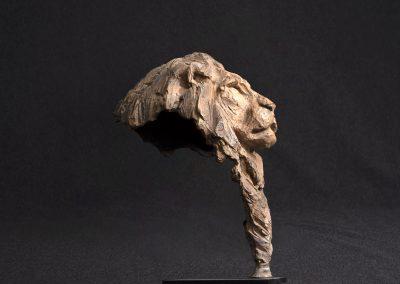 lion profil droit, contre plongée - bronze original