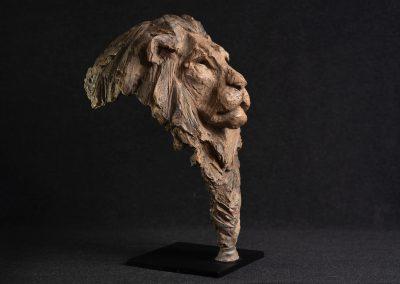 Tête de lion, 3/4 profil droit - bronze original