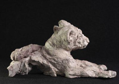 lionceaux, profil droit - terre cuite, pièce unique