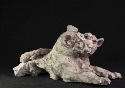 lionceaux, 3/4 profil droit - terre cuite, pièce unique