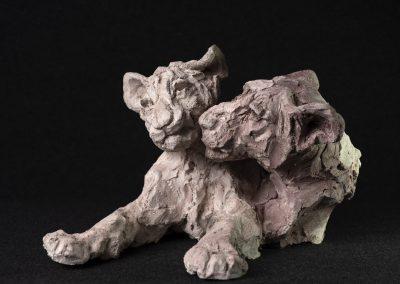 lionceaux, 3/4 face gauche - terre cuite, pièce unique