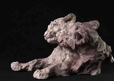 lionceaux, 3/4 profil gauche - terre cuite, pièce unique