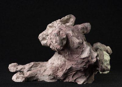 lionceaux, profil gauche - terre cuite, pièce unique
