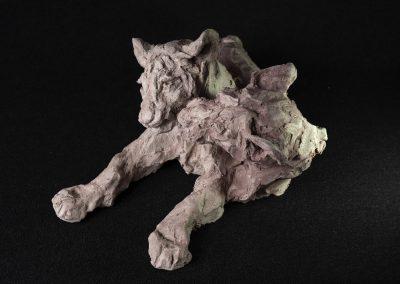 lionceaux, 3/4 face gauche plongeante - terre cuite, pièce unique