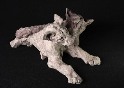 lionceaux, 3/4 face droite plongeante - terre cuite, pièce unique