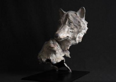 couple de loups, 3/4 profil gauche - bronze original