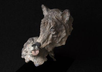 couple de loups, 3/4 face gauche plongeant - bronze original