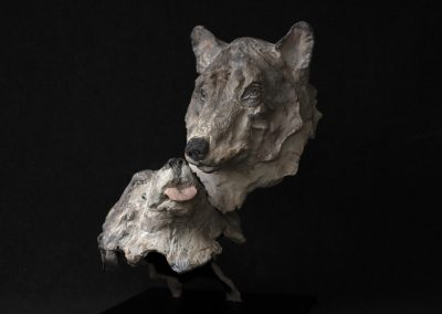 couple de loups, 3/4 face gauche - bronze original