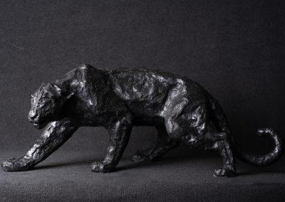Panthère noire, profil gauche clair - bronze original