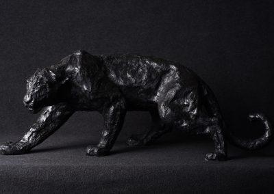 Panthère noire, profil gauche - bronze original