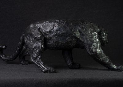 Panthère noire, profil droit - bronze original