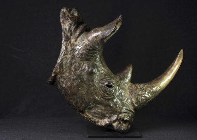 Tête de rhinocéros, profil droit - bronze original