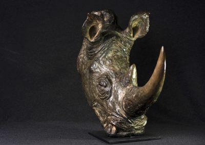 Tête de rhinocéros, 3/4 face droit - bronze original