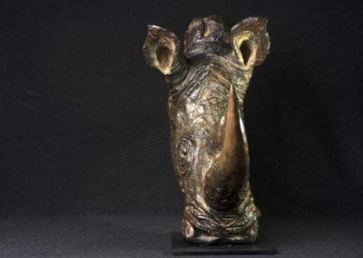 Tête de rhinocéros de face - bronze original