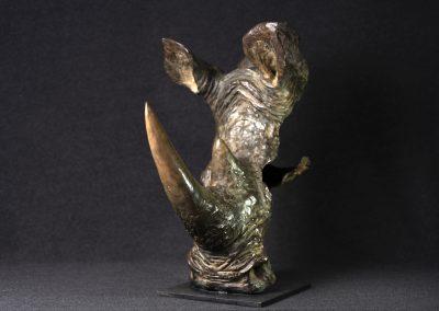 Tête de rhinocéros, 3/4 face gauche - bronze original
