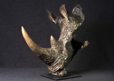 Tête de rhinocéros, 3/4 profil gauche - bronze original